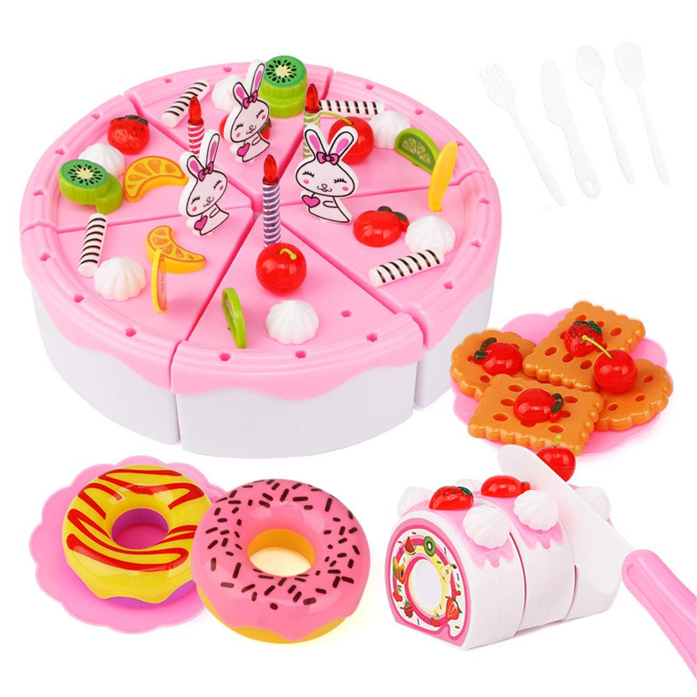 Viesbroty-toy Kids Interesting Interactive Toys Children Cut Fruit Toys Play Kitchen Combination Cut Baby Boys and Girls and Cake Suit Educational Toys (Color : Pink)