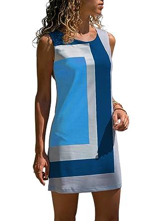 ff7fda8e6b7 ROSKIKI Casual Summer Dresses for Women Knee Length Sleeveless Petite Loose  Mini Dress Color Block Trendy