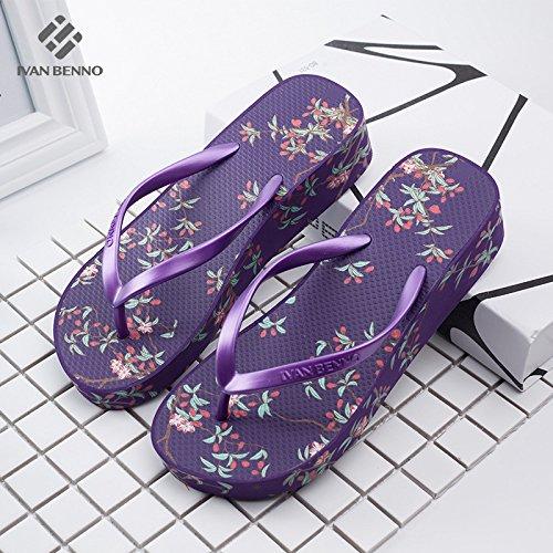 Pantoufles Tongs Plage HONG 35 Coréenne Bas dérapant Purple Anti Avec Et Pente De Augmentation Sandales été JIA 38 Version Mode Portent Purple Femmes Nouvelle La épaissie Tqw0A
