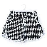Glass House Apparel Women's Summer Casual High Waist Beach Shorts (Large/XLarge, Black White Diamond)