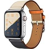 Lichifit Apple Watch 4用交換バンド Apple ウォッチ4交換ベルト 本革 44mm Apple Watch 4腕時計バンド レザー製 インディゴ+ホワイト
