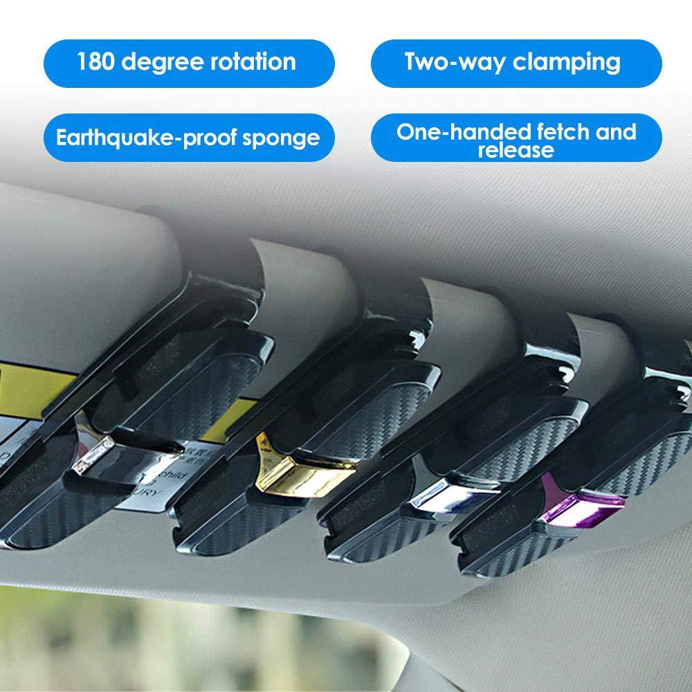FOONEE Portaocchiali per Auto Visiera Parasole Multi-Function Occhiali da Sole in Fibra di Carbonio Montatura per Occhiali con Clip per Biglietti Doppia estremit/à Supporto Occhiali Rotante a 180 /°