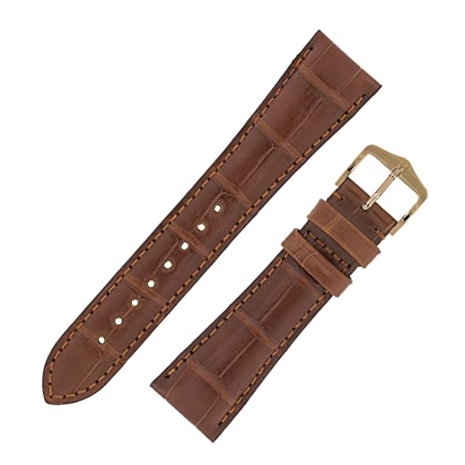 d61a38790 Hirsch London Matt Alligator Leather Watch Strap with Buckle in Gold Brown  (20mm (16mm