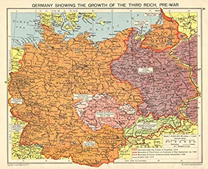 Map Of Germany 1942.Amazon Com Nazi Germany Growth Of The Third Reich Occupied Poland