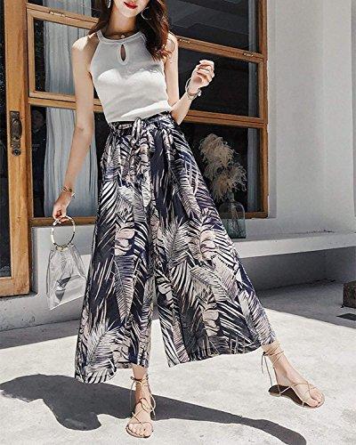 Eté Vintage Impression Palazzo Taille Élégantes Chic Temps Large Femmes Jambe Loisir Noir Casual Léger Haute Mode Pantalons Battercake De xwI6Cwq