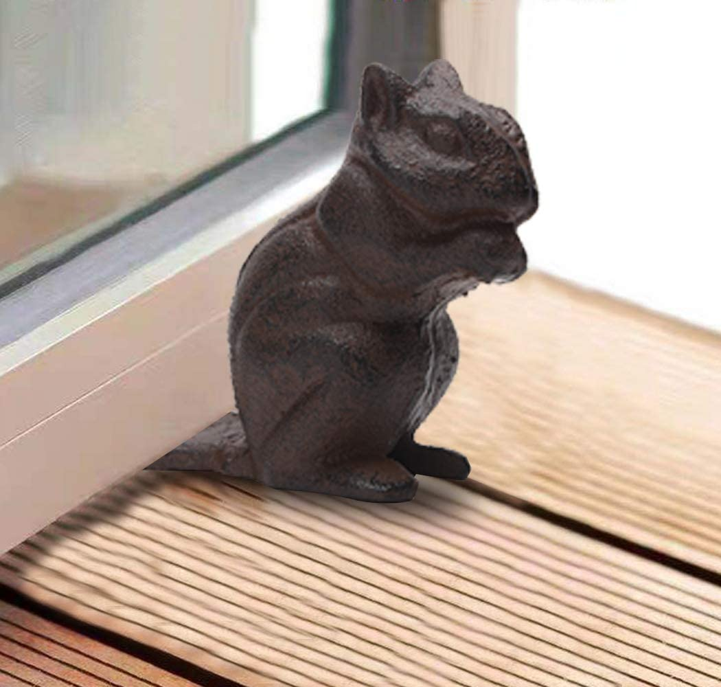 Cast Iron Squirrel Door Stopper Cute Chipmunk Heavy Sturdy Floor Stop Home Art Decor PTWQ006