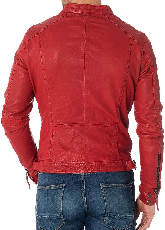 Ayesha Mens Leather Jackets Motorcycle Bomber Biker Genuine Lambskin 407