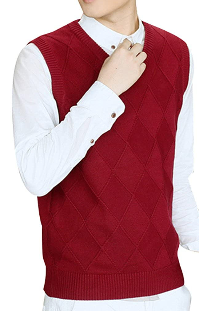 Yasong Men V Neck Sleeveless Sweater Knitwear Diamond Argyle Knitted Tank Tops Waistcoat Business Gentleman Vest