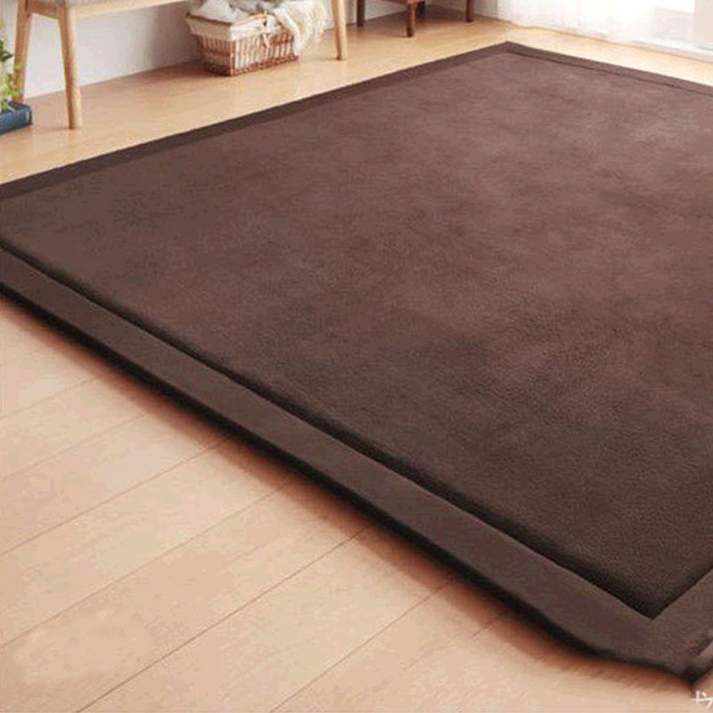 Japanese Thicken Coral Velvet Carpet Children Crawling Mat Tatami Mat Living Room Bedroom Mat Area Rug, MAXYOYO Soft Tatami Carpet Pad, 79 by 98 inch