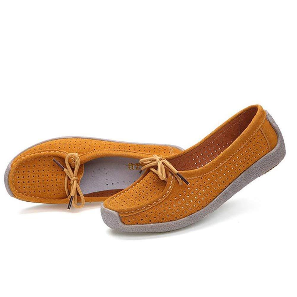 Fuxitoggo Damen Leder Schuhe Stiefel Schuhe Leder Mokassins Beiläufig Aushöhlen Rutschfest Flache Schuhe,Gelb,US8 EU39 UK6 CN39 (Farbe   Gelb Größe   US6 EU36 UK4 CN36) d38856