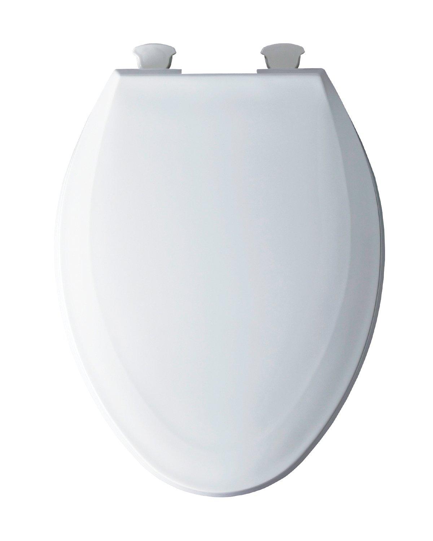 BEMIS 1100EC 000 Toilet Seat with Easy Clean & Change Hinges, ELONGATED, Plastic, White by Bemis