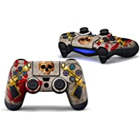 Vinyl PS4 Sticker Cover Skin Decal for Playstation 4 PS4 Pro Slim Remote Controllers-Gun and Skull