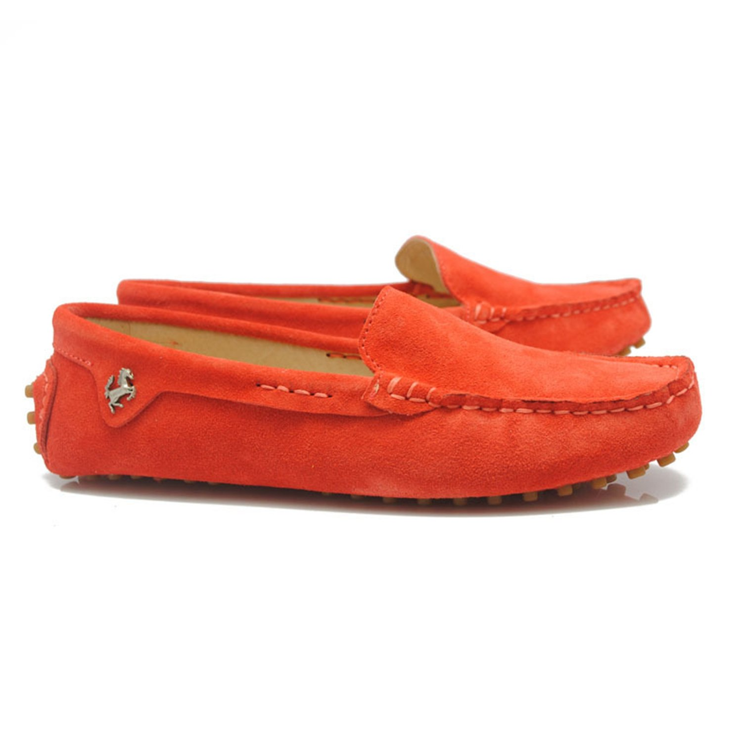 Minishion TYB9601 Women's Round Toe Loafers Boat Shoes Ballet Flats Loafers B072Q1DYMM 9 B(M) US|Dark Orange