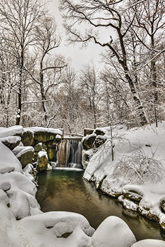 (Posterazzi Snow-Covered Waterfall in The Loch Central Park City New York United States of America Poster Print, (12 x 19) )