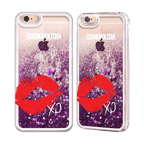 Official Cosmopolitan XO Kiss Mark Purple Liquid Glitter Case Cover for Apple iPhone 6 / 6s