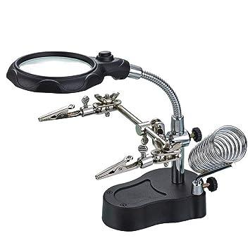 emotree Tercera Mano 3,5/12 aumentos LED lupa con pinzas para soporte soporte de la placa Soldadura trabajo: Amazon.es: Coche y moto