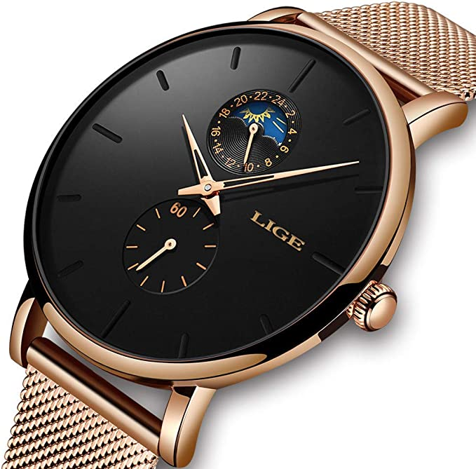 LIGE Unisex Mens Watches Fashion Sports Minimalist Waterproof Wrist Watch Analogue Quartz Watch Simple Stainless Steel Casual Mesh Band Woman Watch