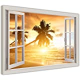 """TROPICAL BEACH SUNSET 3D WINDOW BAY VIEW CANVAS PICTURES WALL ART FRAMED PRINTS SIZE: A3 - 16"""" X 12"""" (40CM X 30CM)"""