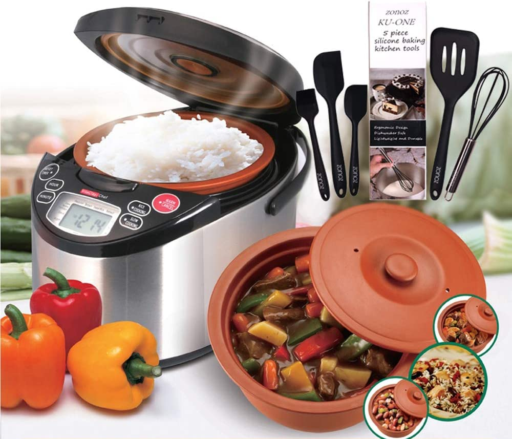 VitaClay VM7900-8 Smart Organic Multi-Cooker- A Rice Cooker, Slow Cooker, Digital Steamer plus bonus Yogurt Maker, 4.2-Quarts/8-Rice Measuring Cups & Zonoz 5-Piece Silicone Spatula Set (Bundle)
