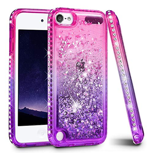(iPod Touch 5 6 7 Case, iPod Touch Case 5th 6th 7th Generation for Girls, Ruky Quicksand Series Glitter Flowing Liquid Floating Bling Diamond Flexible TPU Cute Case for iPod Touch 5 6 7 (Pink Purple))