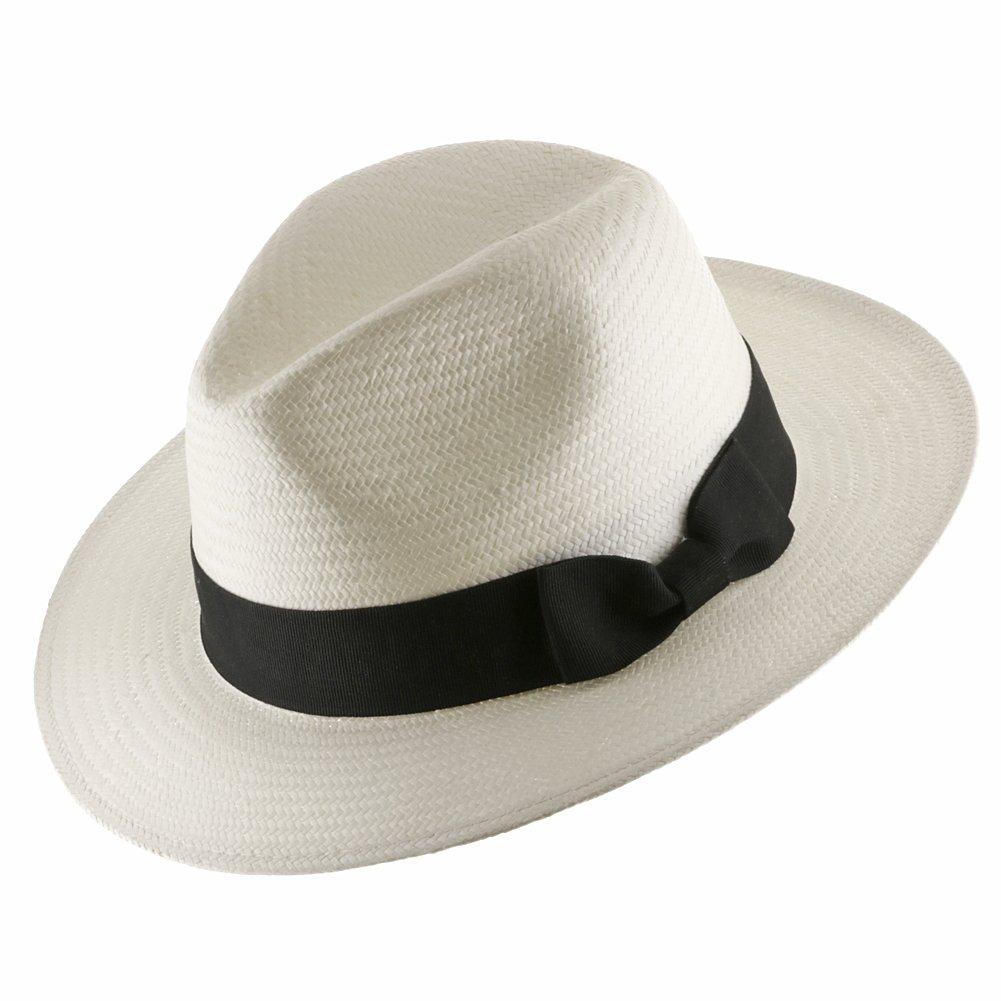 Ultrafino Trilby Straw Fedora WHITE Panama Hat 7 1/2 by Ultrafino (Image #1)
