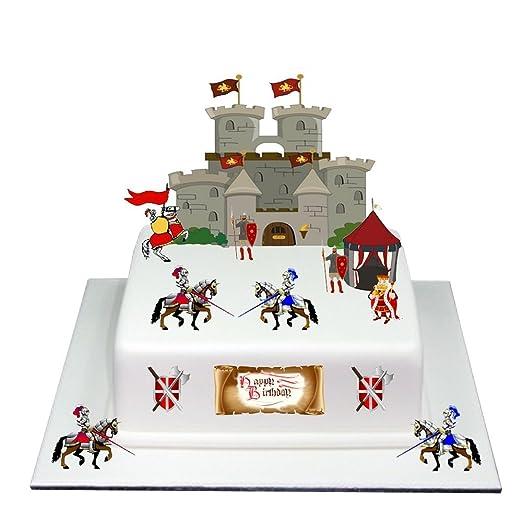 Medieval Caballero Castillo feliz cumpleaños tarta de pie ...