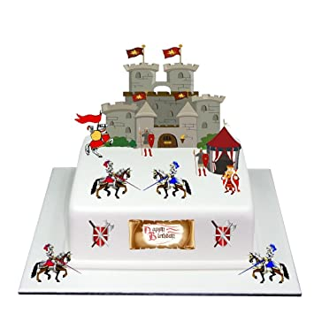 Medieval Knight Castle Happy Birthday Stand Up Cake Scene Made From Edible Wafer Paper