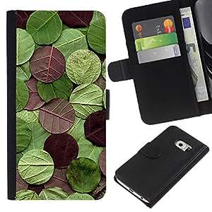 All Phone Most Case / Oferta Especial Cáscara Funda de cuero Monedero Cubierta de proteccion Caso / Wallet Case for Samsung Galaxy S6 EDGE // Round Pattern Nature Green Maroon