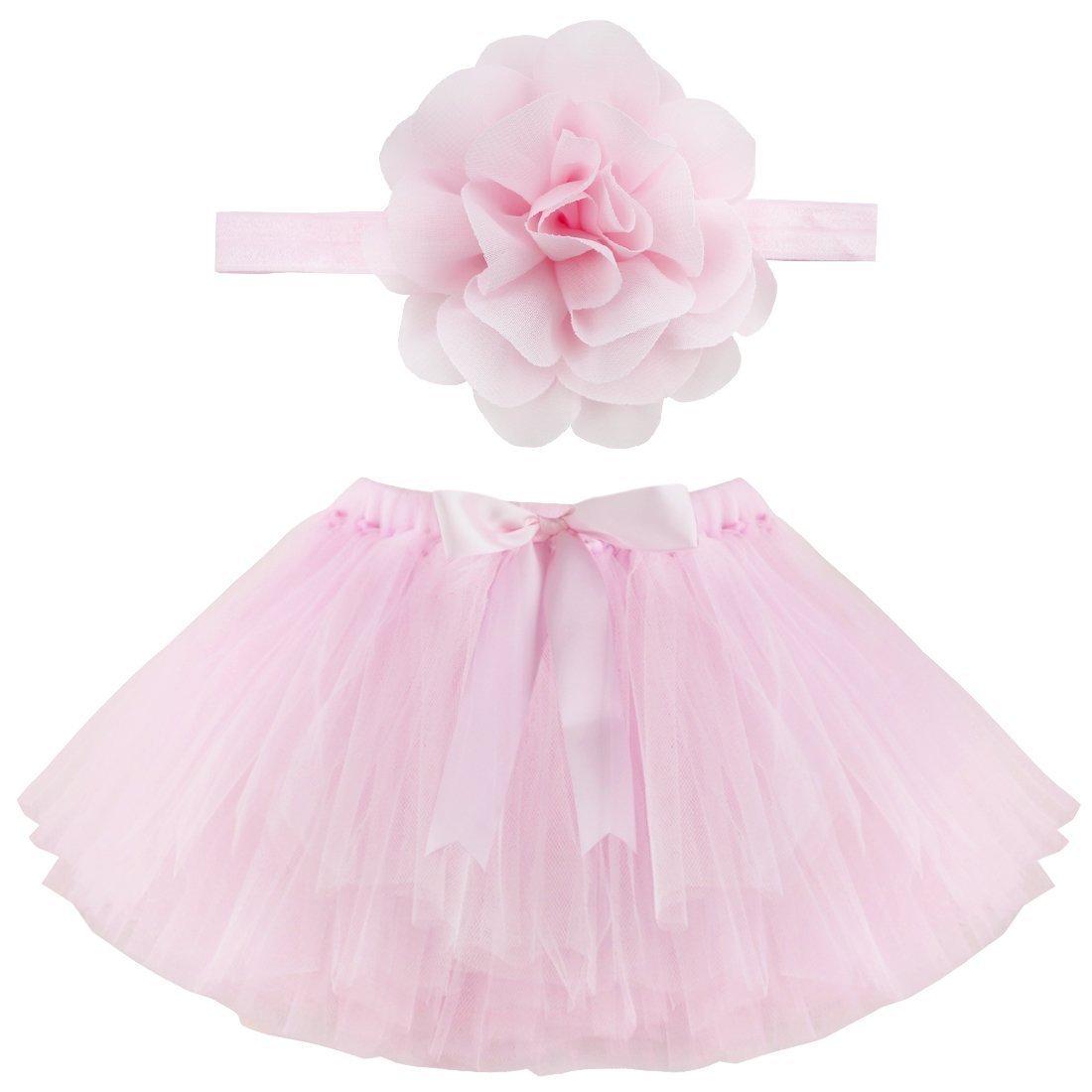 Musuntas apoyo de la fotografía del bebé, traje del bebé, foto del bebé trajes Fotografía traje de la falda del tutú de Pettiskirt de las muchachas venda de la flor (rosa) MU006