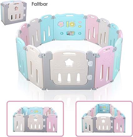 Cũi trẻ em bằng nhựa sinh thái BAMNY, XXL, Cổng an toàn có cửa và đồ chơi có thể mở rộng, dành cho trẻ từ 10 tháng đến 6 tuổi (Chứng chỉ EN71, Miễn phí chất dẻo)