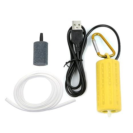 CADANIA Bomba de Aire con oxígeno USB Portátil Mini Silencio Ahorro de energía Compresor Acuario Pecera