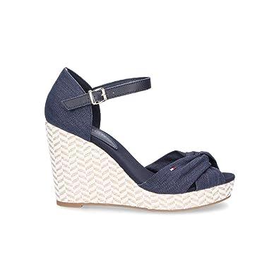 f836f1b276557 Tommy Hilfiger Femme 1092403 Bleu Tissu Chaussures Compensées ...