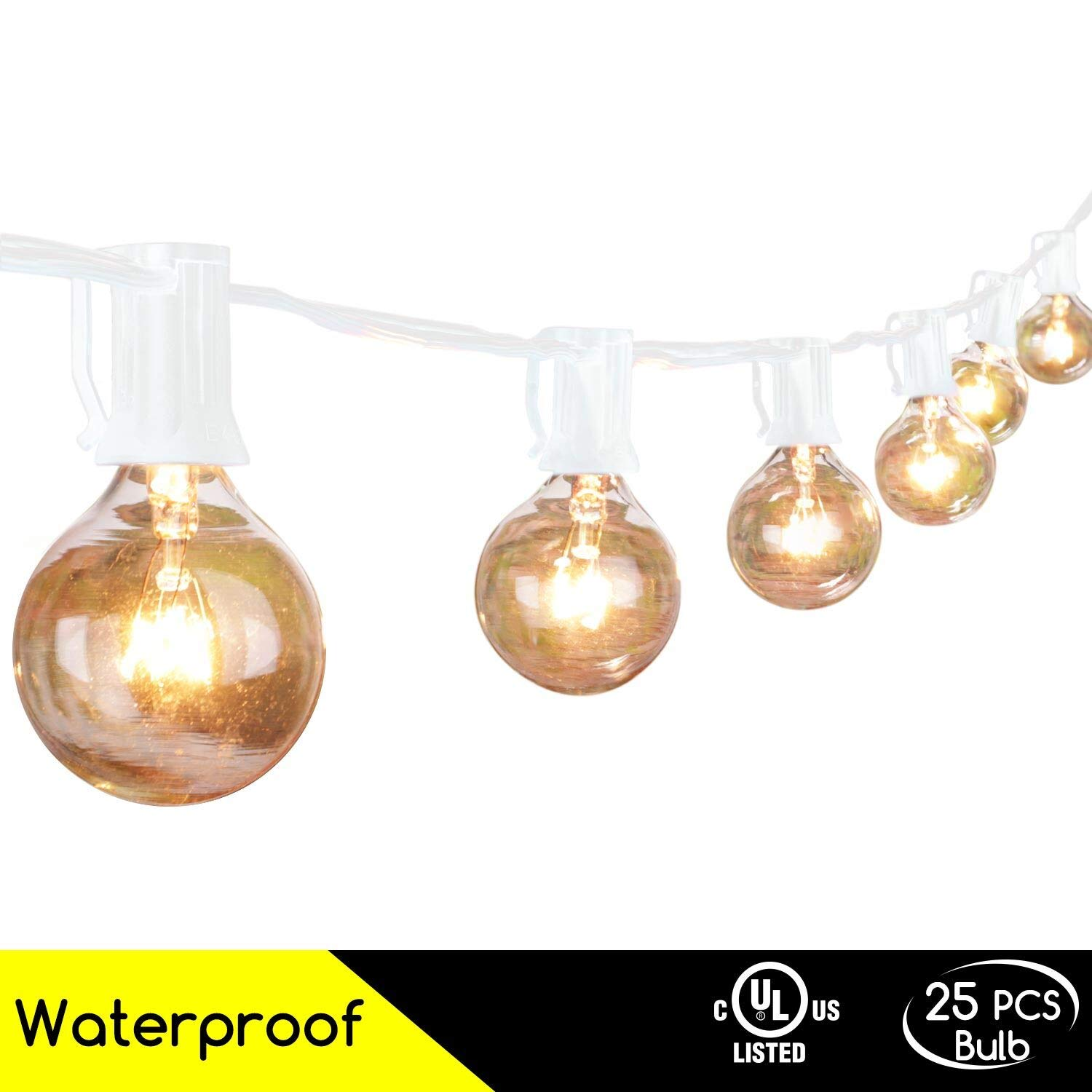 25Ft G40 Globe String Light Set, UL Listed Outdoor Market Lights for Indoor/Outdoor Commercial Decor, White Wire