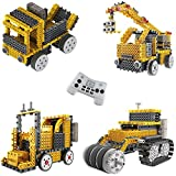 Ingenious Machines Construction Crew Robot Vehicle Building Kit TG667 – Remote Control Blocks Motorized Vehicle Kids Robotic Kits – Toys For Boys & Girls By ThinkGizmos (Trademark Protected).