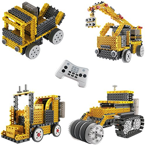 Ingenious Machines Construction Crew Robot Vehicle Building Kit TG667 – Remote Control Blocks Motorized Vehicle Kids Robotic Kits – Toys For Boys & Girls By ThinkGizmos (Trademark (Motorized Vehicle)