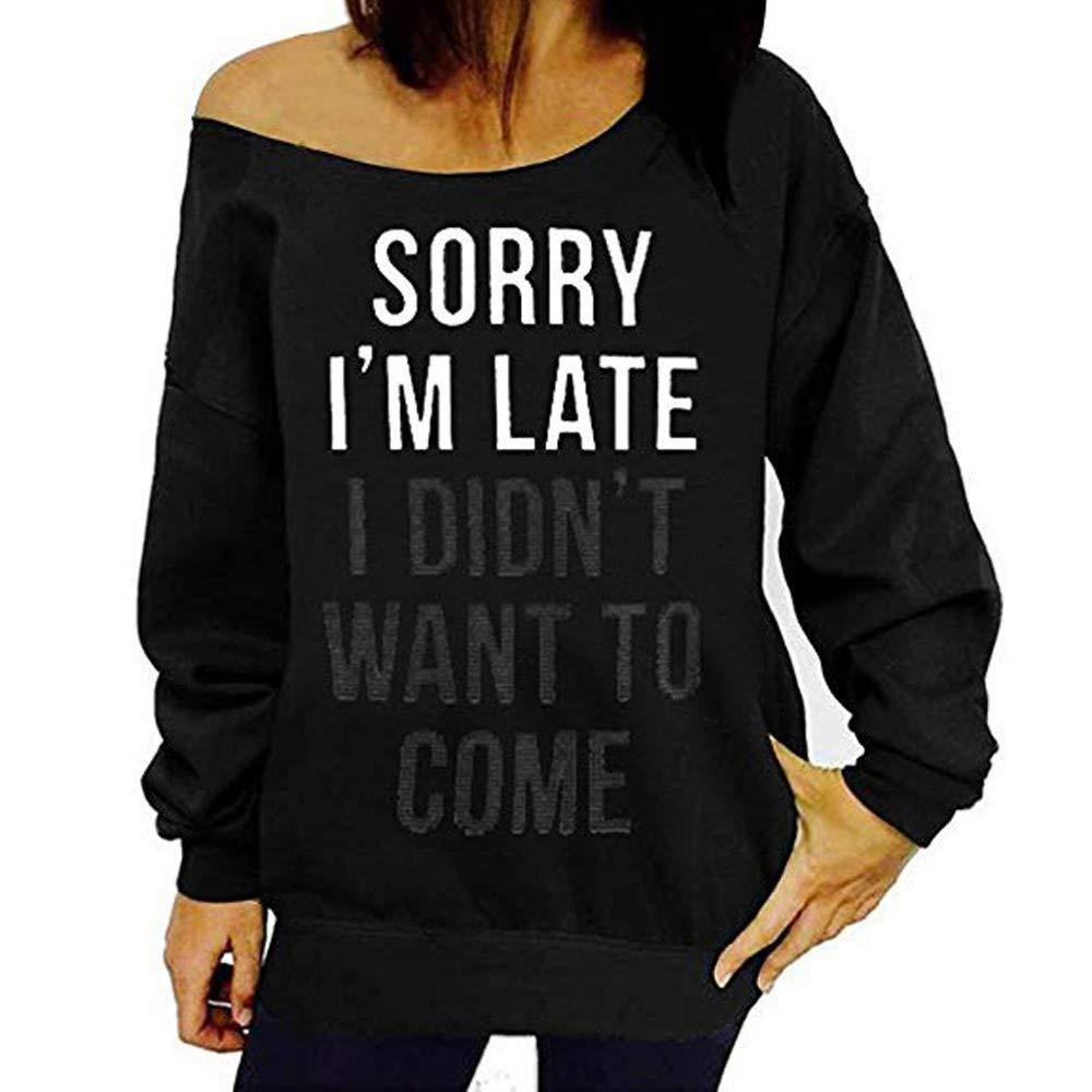 IZHH Damen Plus Size Tops, Mode Brief Print Langarm Kalte Schulter Sweatshirt Pullover Bluse Shirt Brief Print Top Pullover IZHH-Shirt-1114