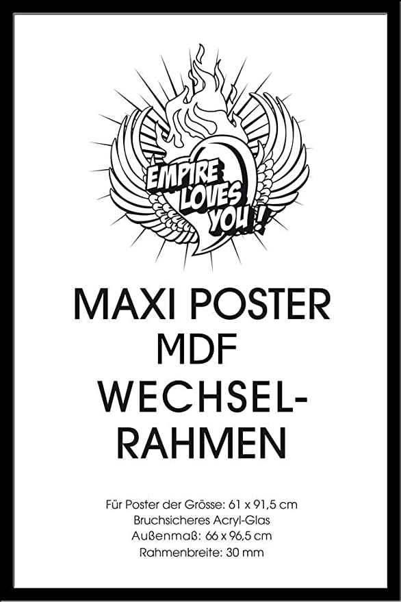 Amazon.de: empireposter - Rahmen Maxi 61x91, 5 cm - Profil: 30mm MDF ...