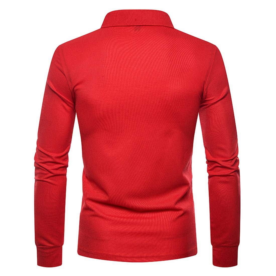 Jxg Men Long Sleeve Slim Fit Solid Color Tee Plus Size Golf Polo