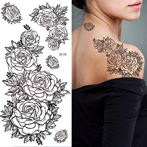 Supperb Temporary Tattoos - Hand Drawn Black & White Roses Flowers