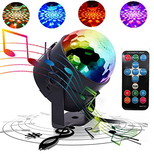 QinGers Stage Light Party Disco Ball Lights Dj Stage Light 7 Colors Sound Activated for Christmas KTV Club Lights Romantic Decoration