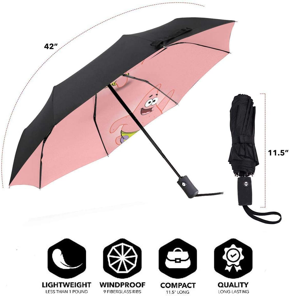 Windproof Travel Umbrella Happy Patrick Star Compact Folding Umbrella Automatic Open//Close