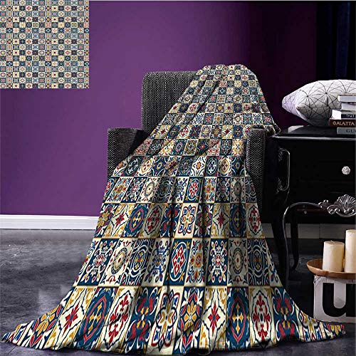 Moroccan Printing Blanket Portuguese Azulejo Checkered Squares Colorful Pattern Floral Arrangement Print Summer Quilt Comforter Dark Blue Amber Red Bed or Couch 80