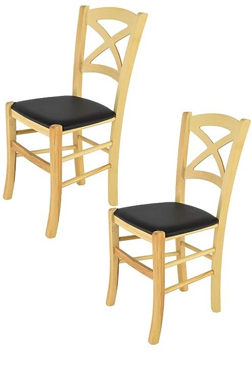 Tommychairs - Set 2 sedie classiche CROSS per cucina. bar e sala da ...