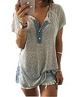 Kolylong Women Loose Casual Short sleeve Button Blouse T Shirt Tank Tops