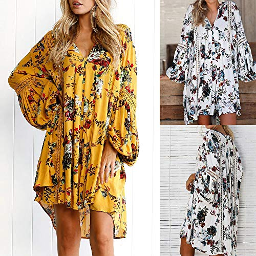 (Landfox Maxi Dress, Evening Party Mini Dress,Women Boho Floral Long Maxi Beach Sundress White)