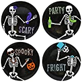 Set of 4-8'' Diameter Halloween Dessert Plates with Dancing Skeletons! - Perfect for Halloween Or Spooky Secret Social Gatherings Such as Tabletop Gaming - Bone-Appetit
