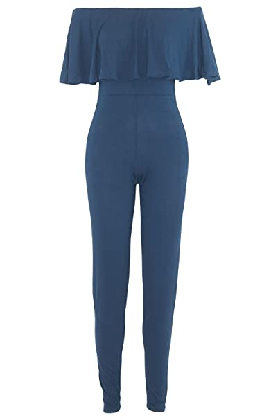 ba64bcfd556 Be Jealous Womens Ladies Off The Shoulder Bardot All in One Peplum Frill  Playsuit Jumpsuit Navy