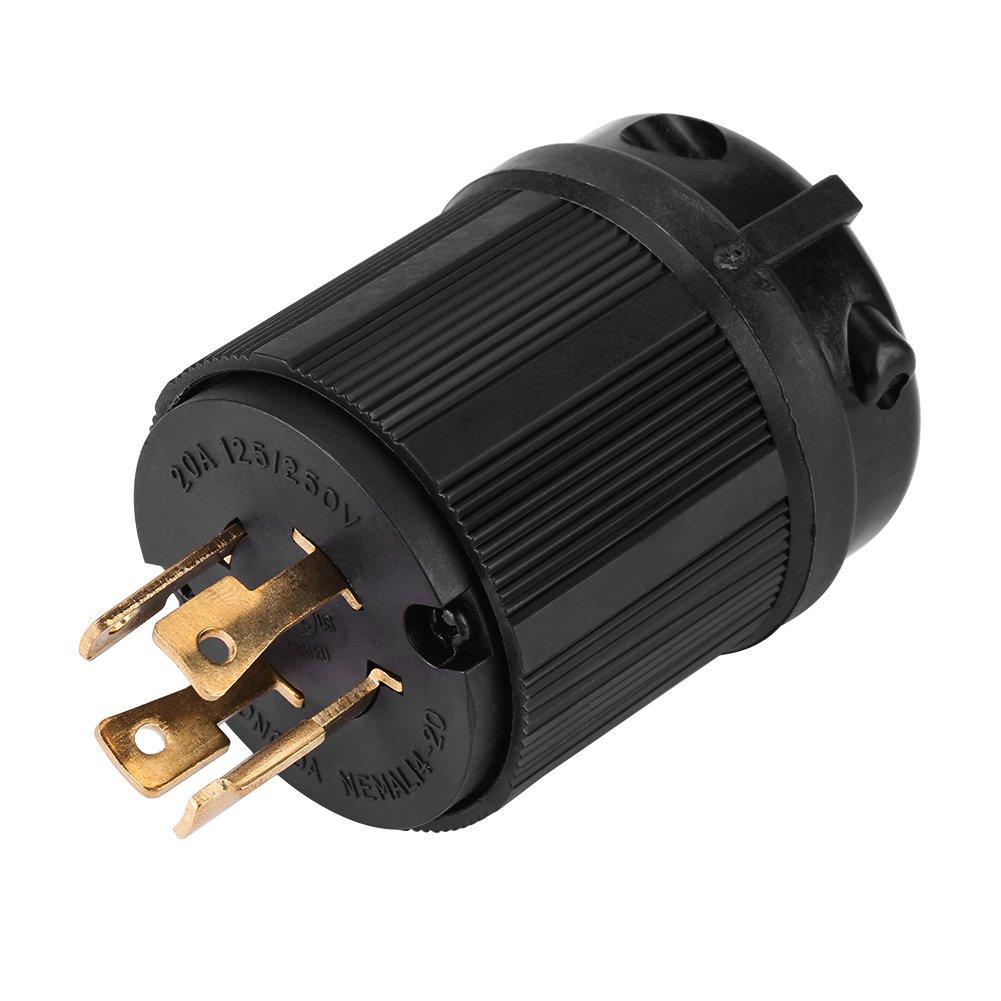 NEMA L14-20P 20 Amp 125/250 Volt Twist Lock Male Plug USA 3 Pole Industrial Grade Grounding 4-Prong Power Generator Plug by Walfront