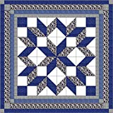 quilt kits - Easy Quilt Kit Carpenters Wheel/ Blue/Black and Gray Camo-Expedited Shipping