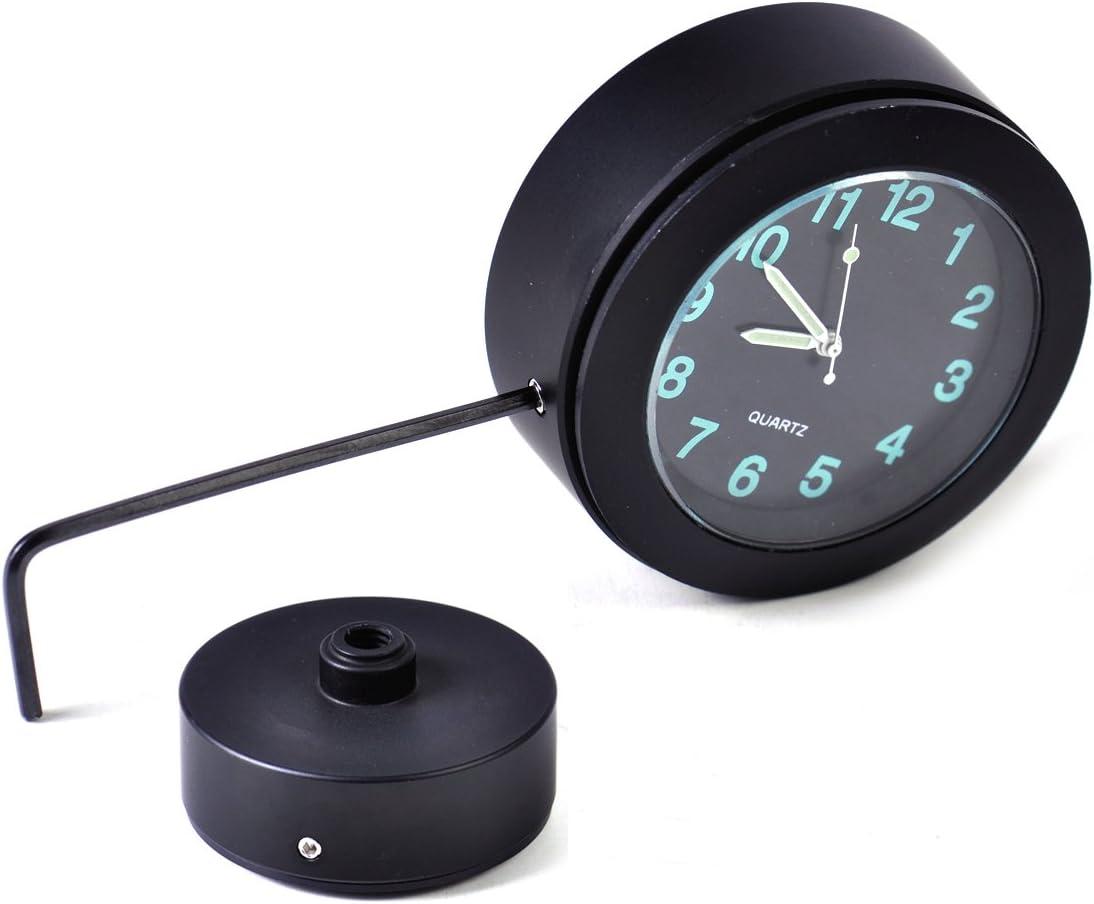 Eastar Black Handlebar Bar Mount Clock Luminous Waterproof Fits for Motorcycle Cruiser Custom with 7//8 to 1 Handlebar Chopper